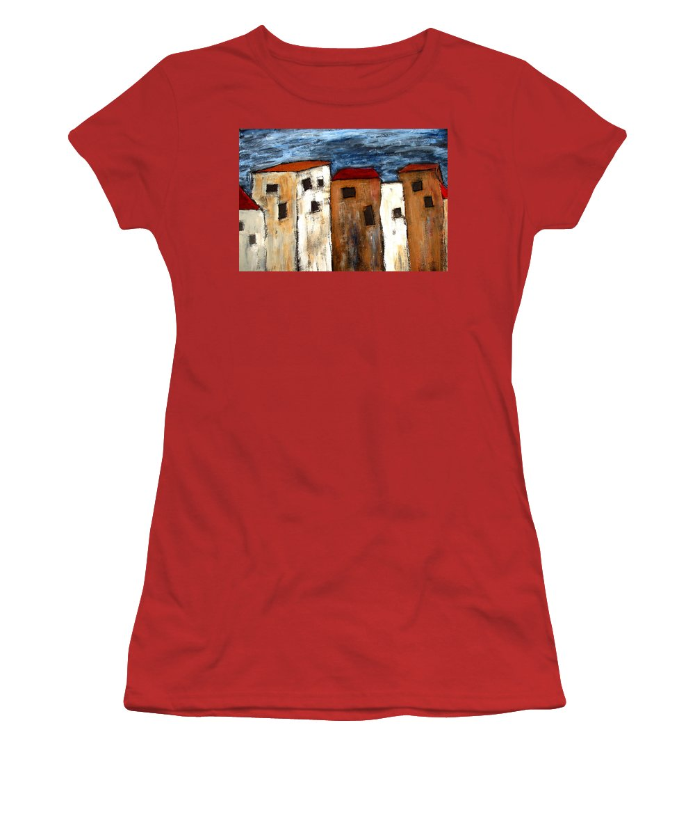 Acrylic Women's T-Shirt (Athletic Fit) featuring the painting Warehouse Row by Wayne Potrafka