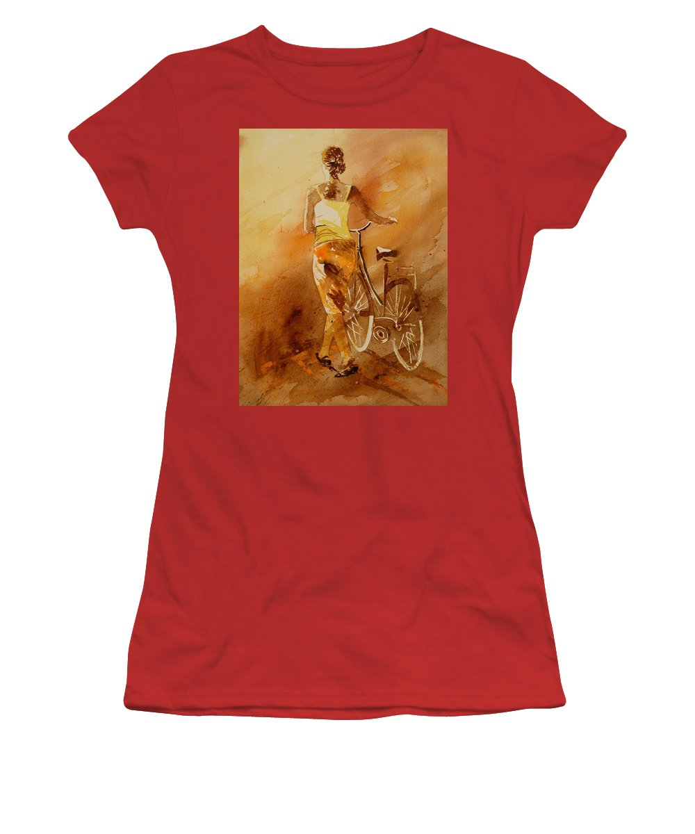 Figurative Women's T-Shirt (Athletic Fit) featuring the painting Watercolor With My Bike by Pol Ledent