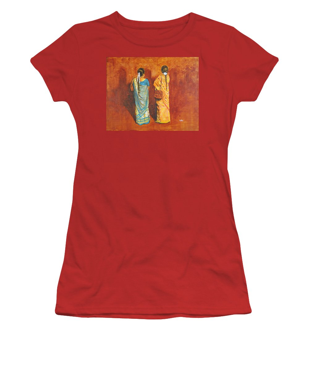 Women Women's T-Shirt (Athletic Fit) featuring the painting Women In Sarees by Usha Shantharam