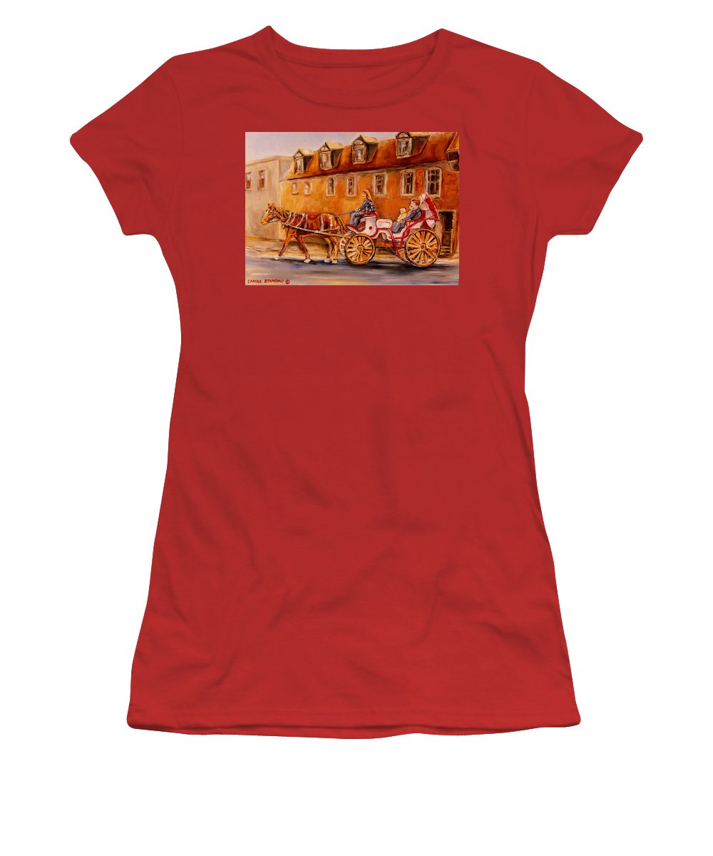 Quebec City Women's T-Shirt (Athletic Fit) featuring the painting Wonderful Carriage Ride by Carole Spandau