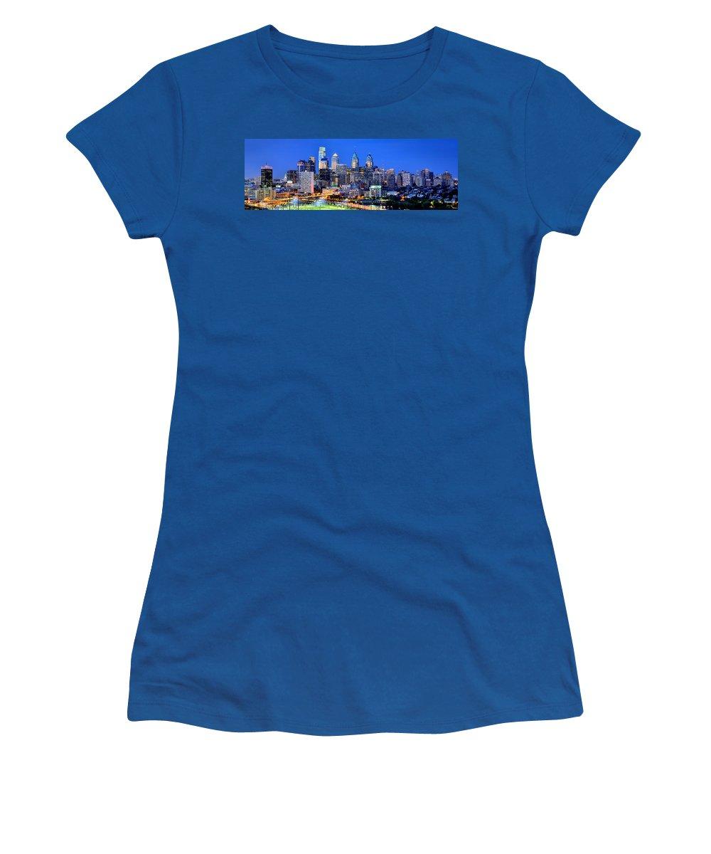 Philadelphia Skyline Women's T-Shirt featuring the photograph Philadelphia Skyline At Night Evening Panorama by Jon Holiday