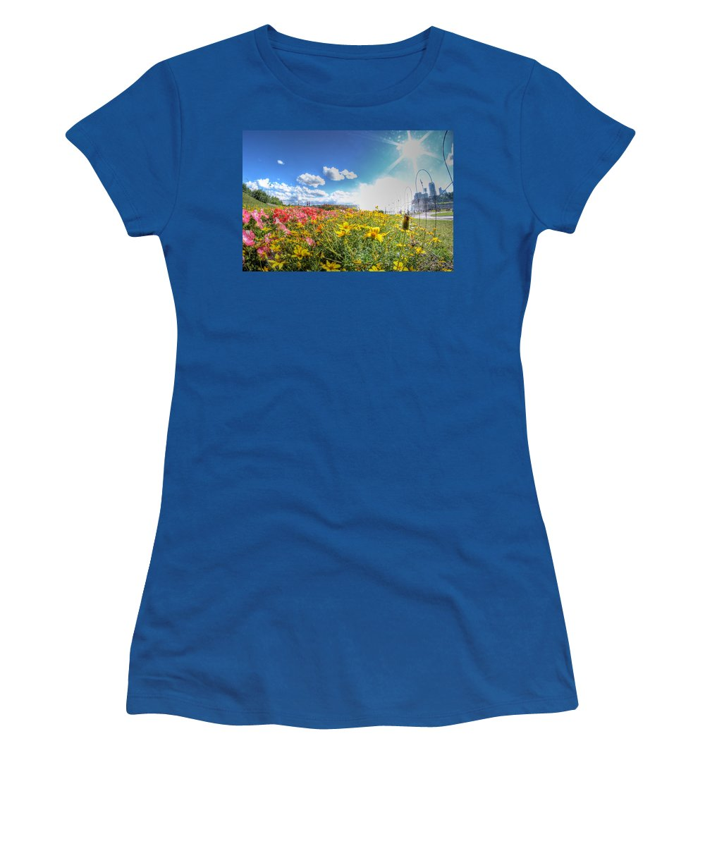 Niagara Falls Women's T-Shirt featuring the photograph 001 Niagara Falls Misty Blue Series by Michael Frank Jr