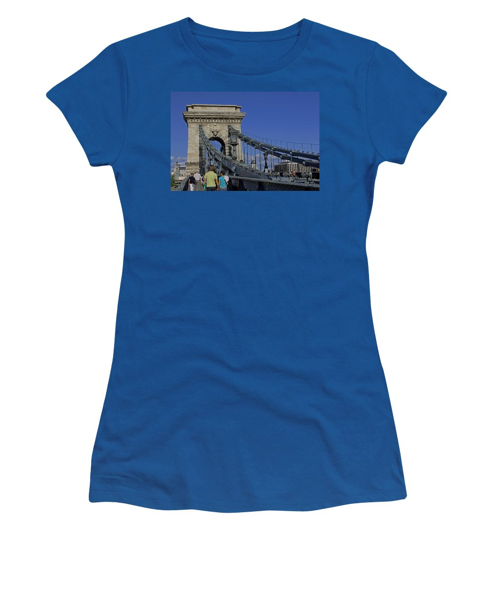 Chain Bridge Women's T-Shirt (Athletic Fit) featuring the photograph Chain Bridge Budapest by Tony Murtagh