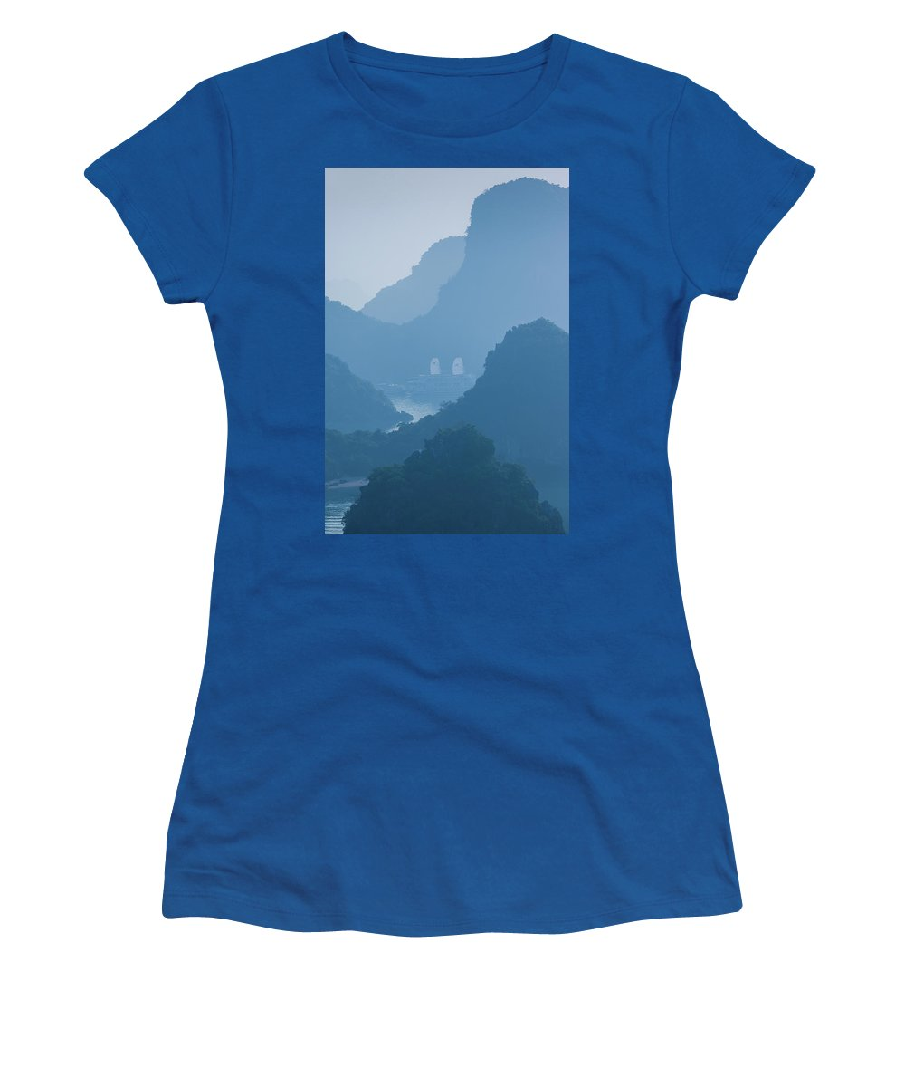 Photography Women's T-Shirt featuring the photograph Islands And Boats In The Pacific Ocean by Panoramic Images
