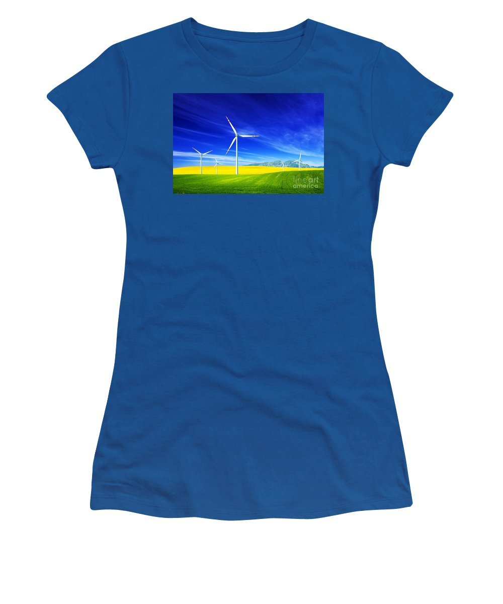 Wind Women's T-Shirt featuring the photograph Wind Turbines On Spring Field by Michal Bednarek