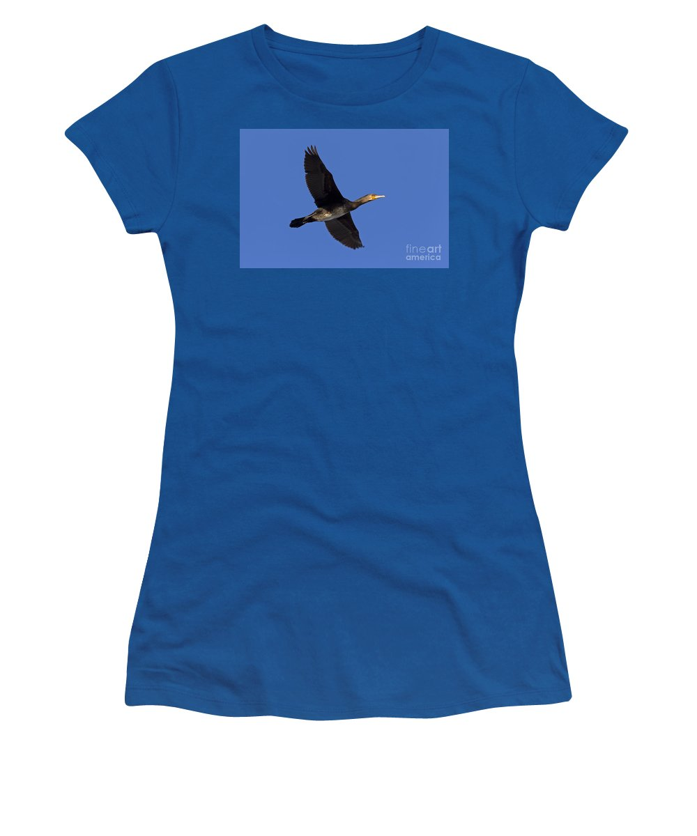 Great Cormorant Women's T-Shirt featuring the photograph 110307p047 by Arterra Picture Library