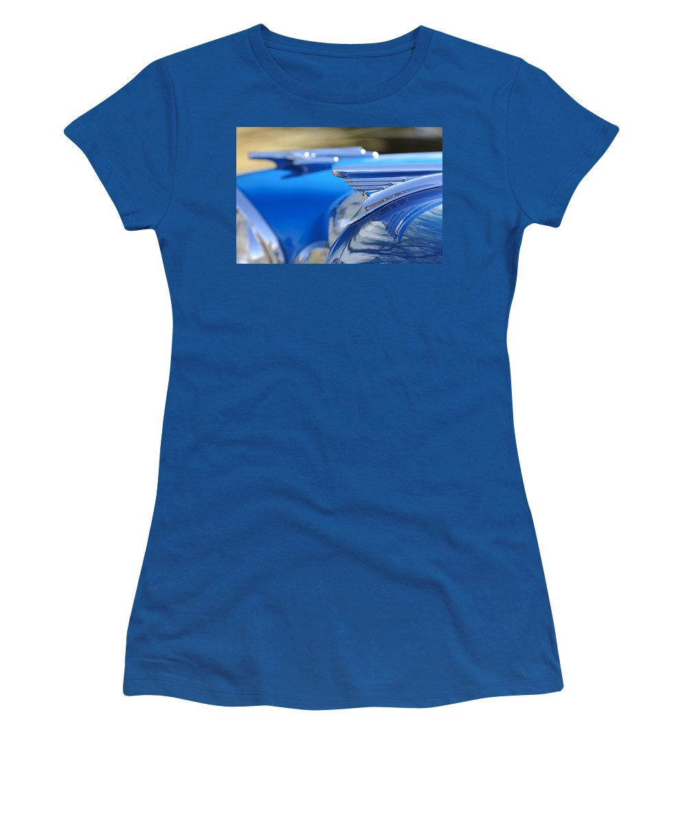 1957 Oldsmobile Women's T-Shirt (Athletic Fit) featuring the photograph 1957 Oldsmobile Hood Ornament 3 by Jill Reger
