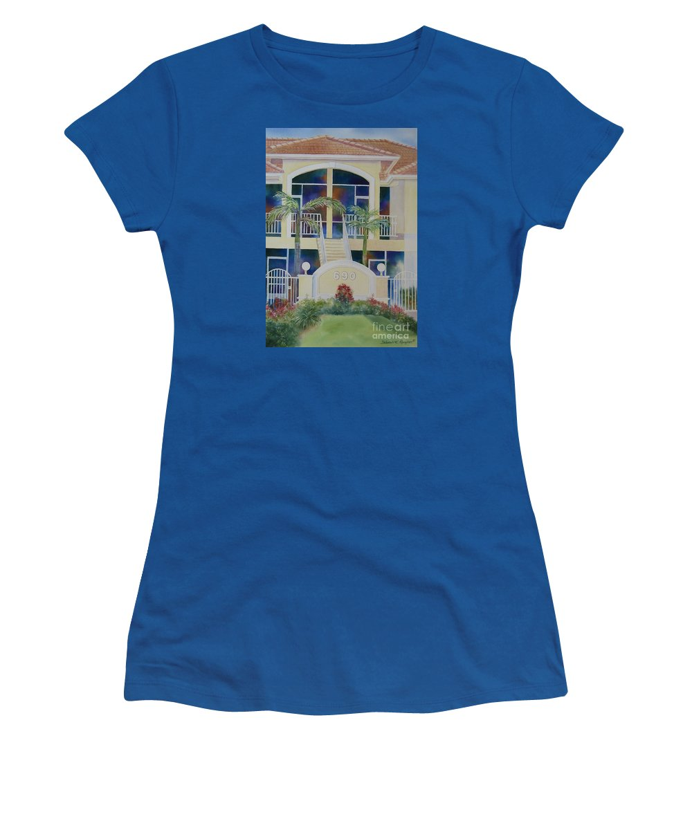 Marco Island Women's T-Shirt (Athletic Fit) featuring the painting Marco Island Condo by Deborah Ronglien