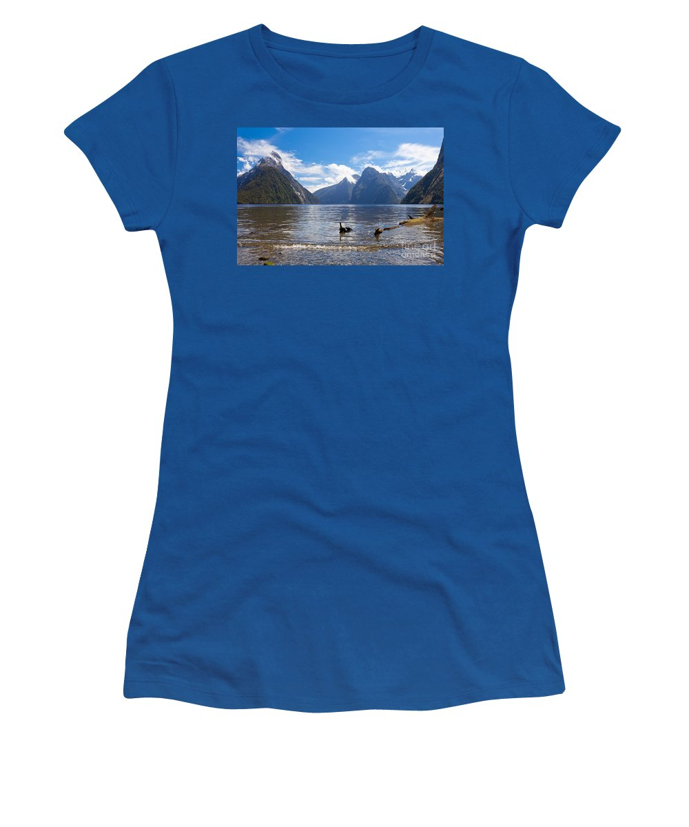 Mount Women's T-Shirt featuring the photograph Milford Sound And Mitre Peak In Fjordland Np Nz by Stephan Pietzko