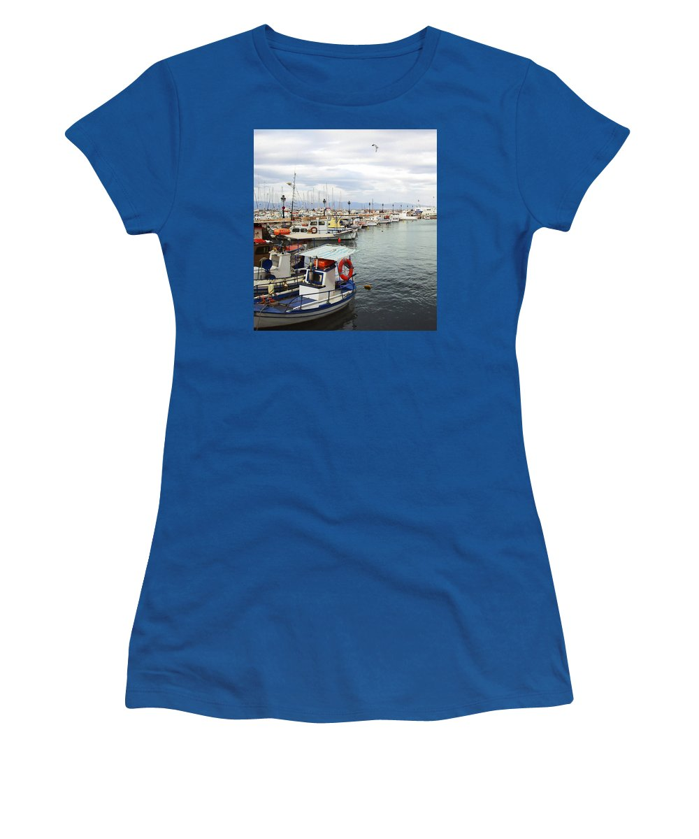 Port Of Aegina Women's T-Shirt (Athletic Fit) featuring the photograph Port Of Aegina by Ellen Henneke