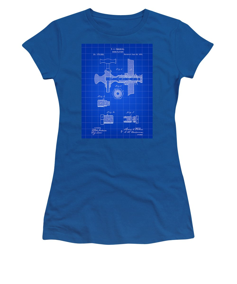 Beer Women's T-Shirt featuring the digital art Beer Tap Patent 1876 - Blue by Stephen Younts