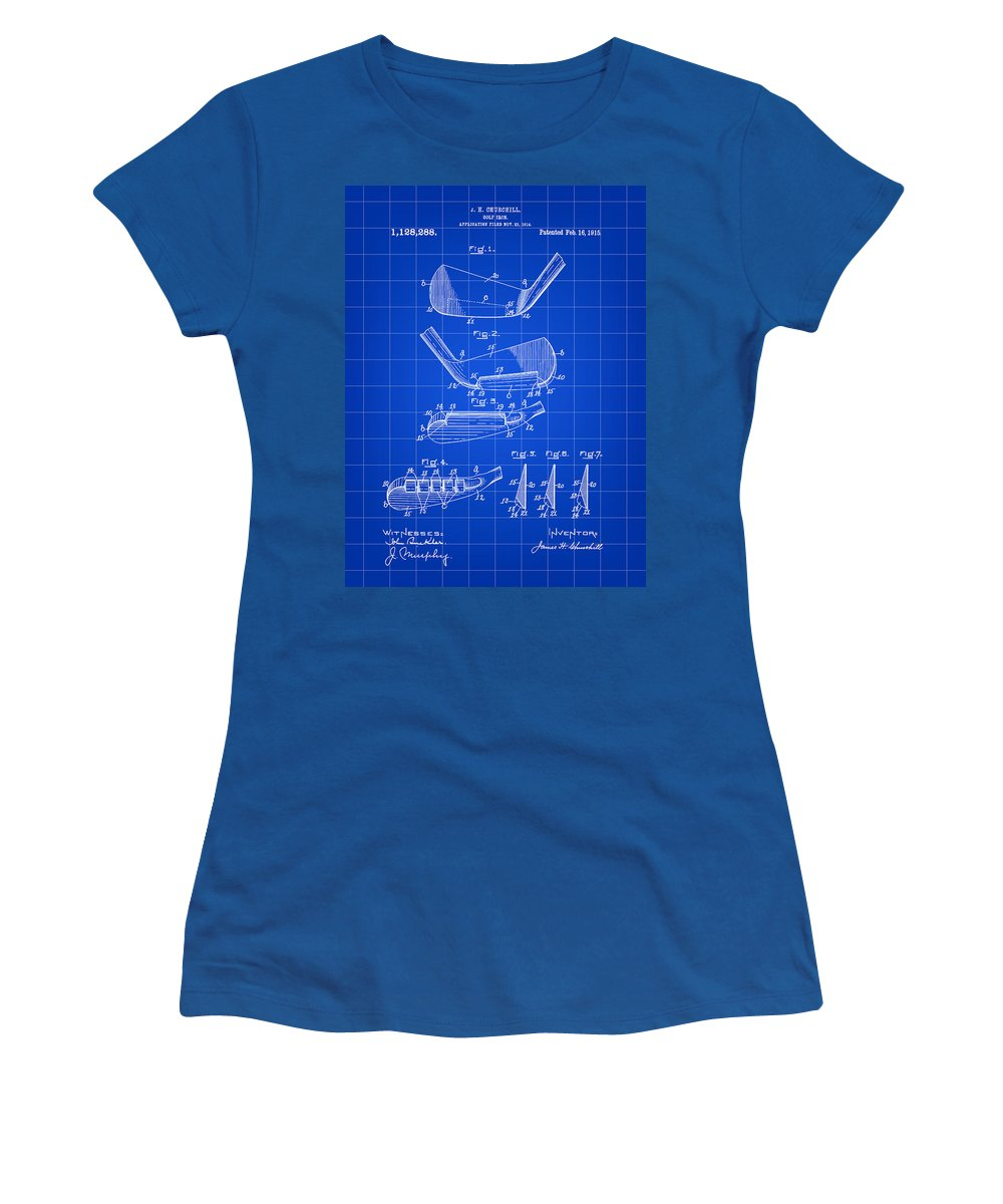 Golf Women's T-Shirt featuring the digital art Golf Iron Patent 1914 - Blue by Stephen Younts