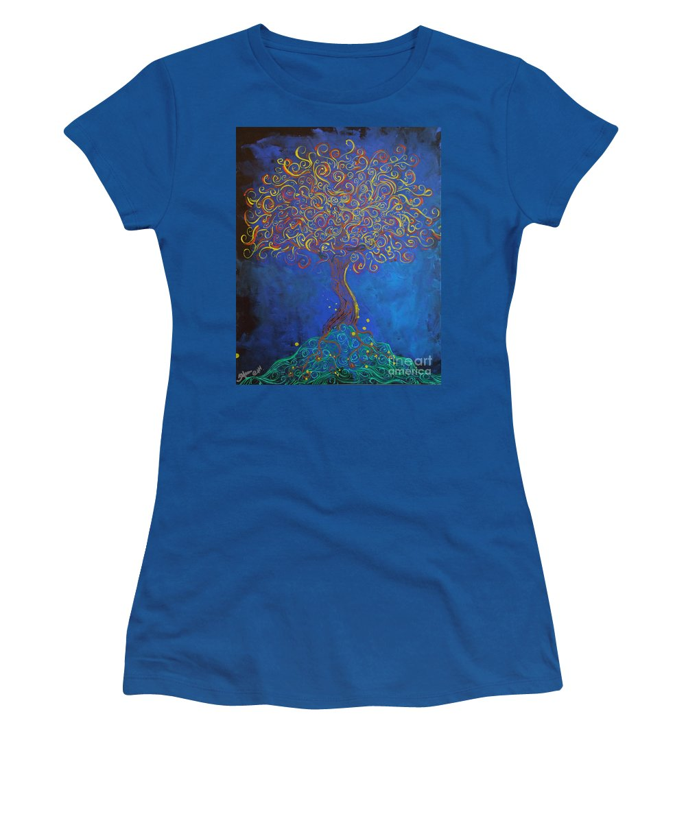 Fantasy Women's T-Shirt (Athletic Fit) featuring the painting A Tree Of Orbs Glows by Stefan Duncan