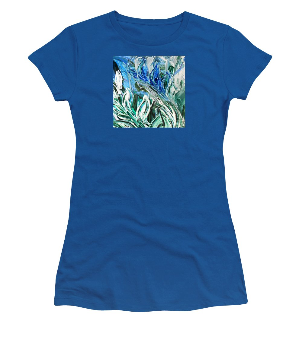 Reflection Women's T-Shirt featuring the painting Abstract Floral Sky Reflection by Irina Sztukowski
