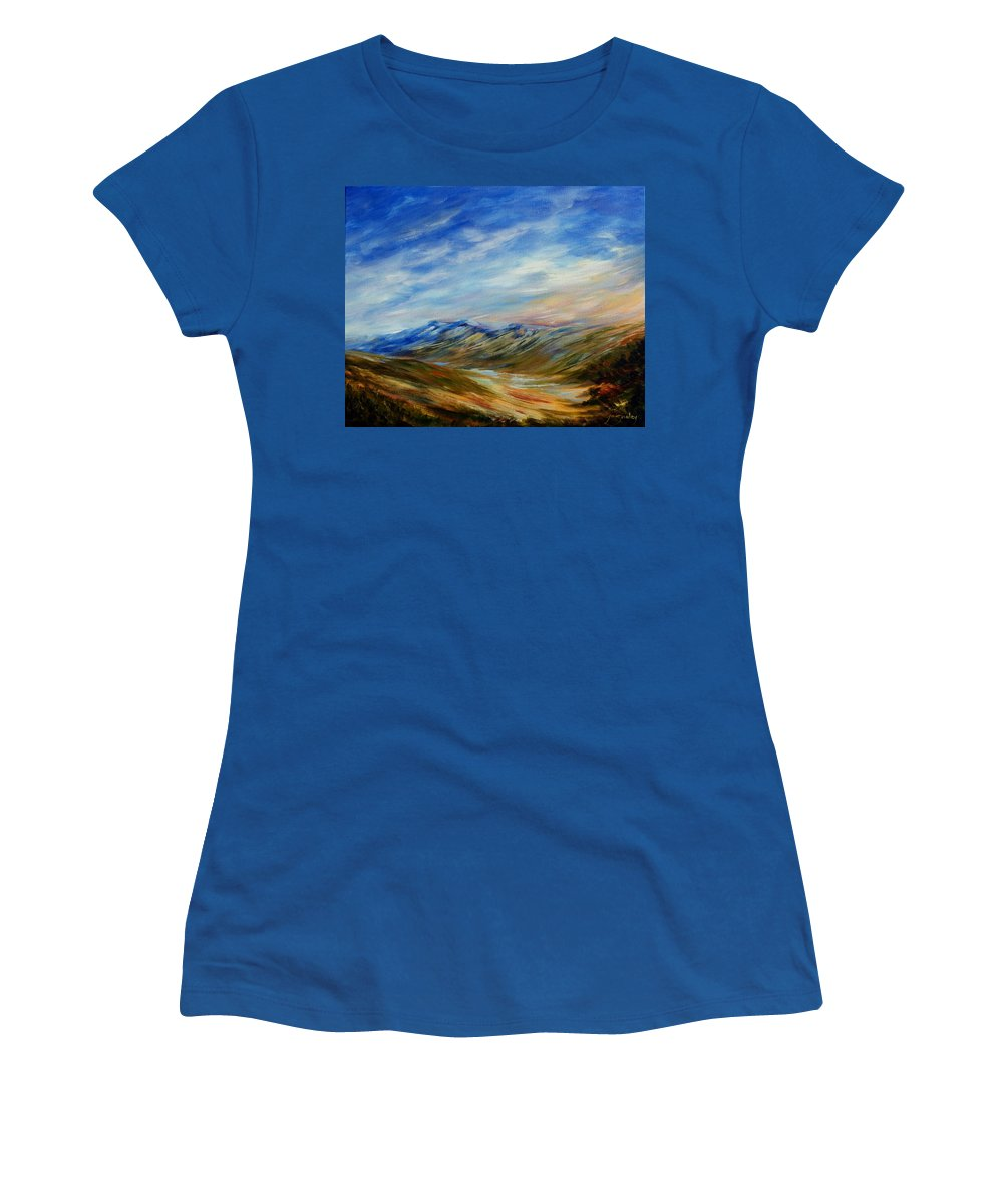 Alberta Moment Women's T-Shirt featuring the painting Alberta Moment by Joanne Smoley