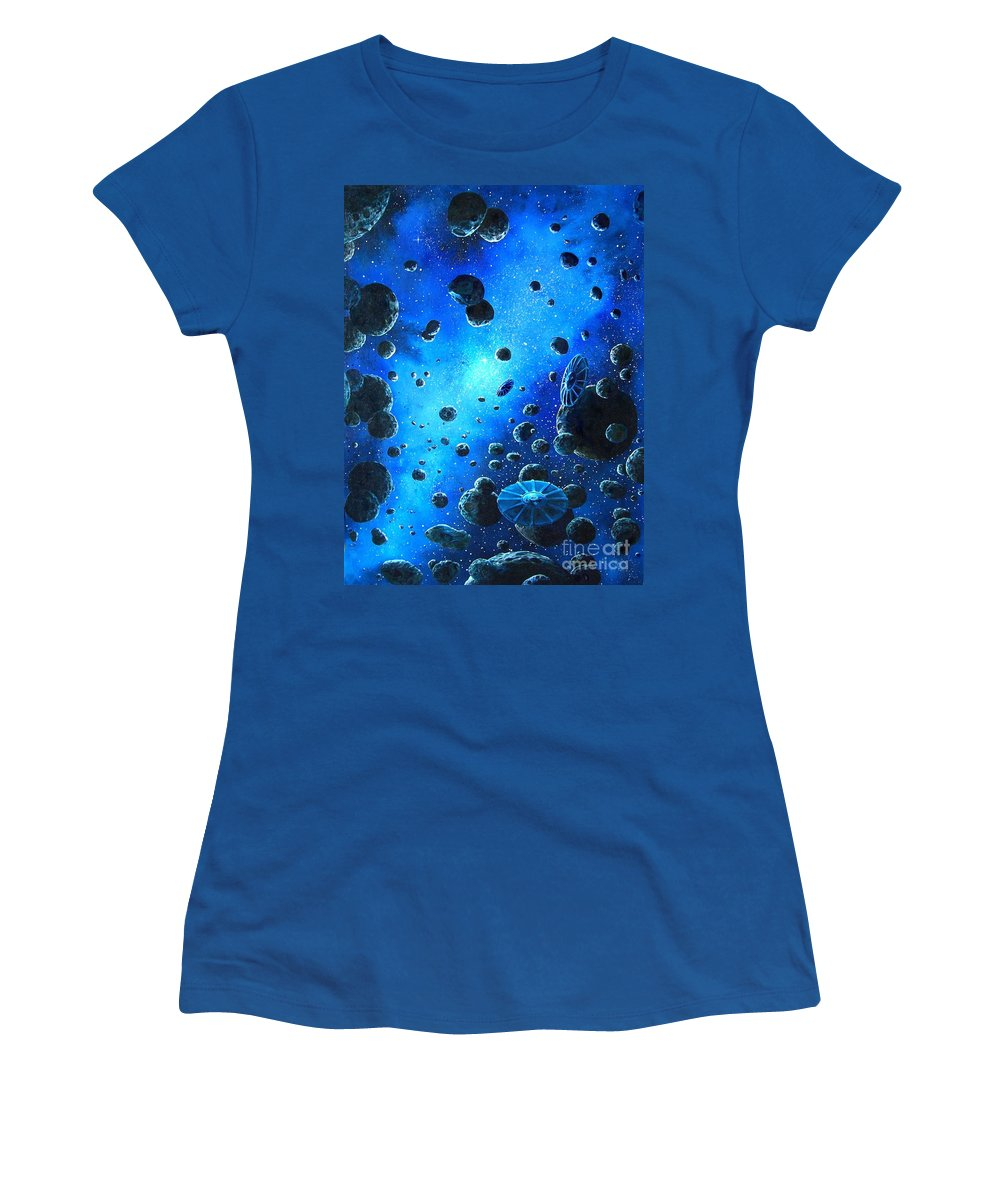 (space Ships) Women's T-Shirt featuring the painting Alien Flying Saucers by Murphy Elliott