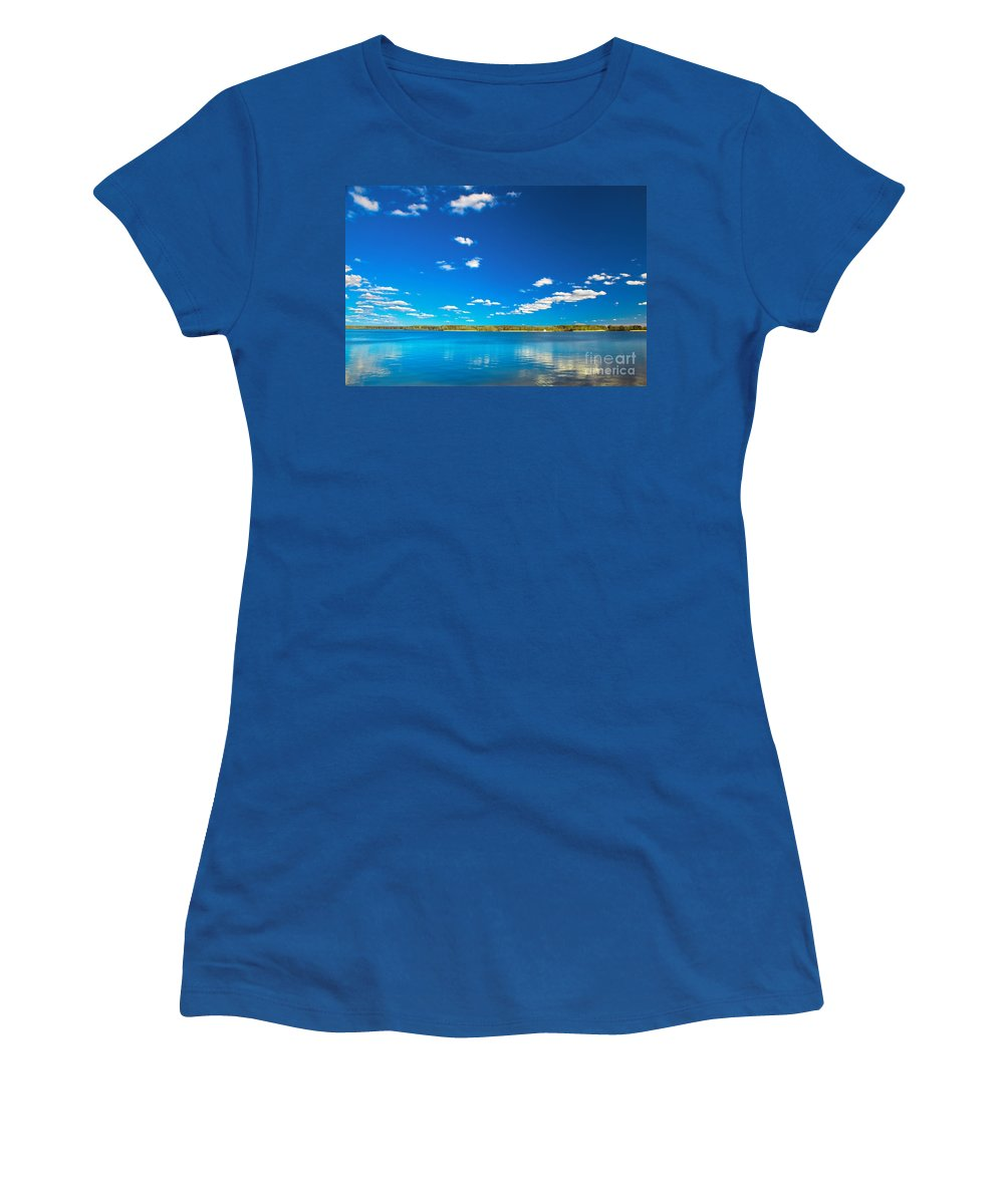 Lake Women's T-Shirt featuring the photograph Amazing Clear Lake Under Blue Sunny Sky by Michal Bednarek