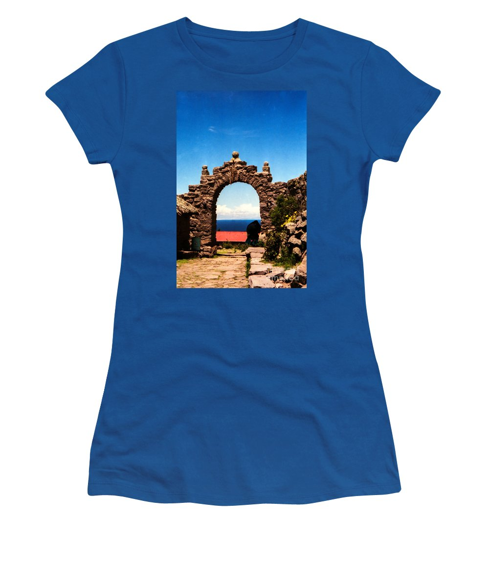 Taquile Island Women's T-Shirt featuring the photograph Ancient Portal by Suzanne Luft