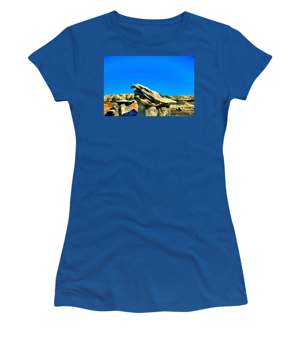 Rock Formations Women's T-Shirt featuring the painting Angry Gods by Jim Buchanan
