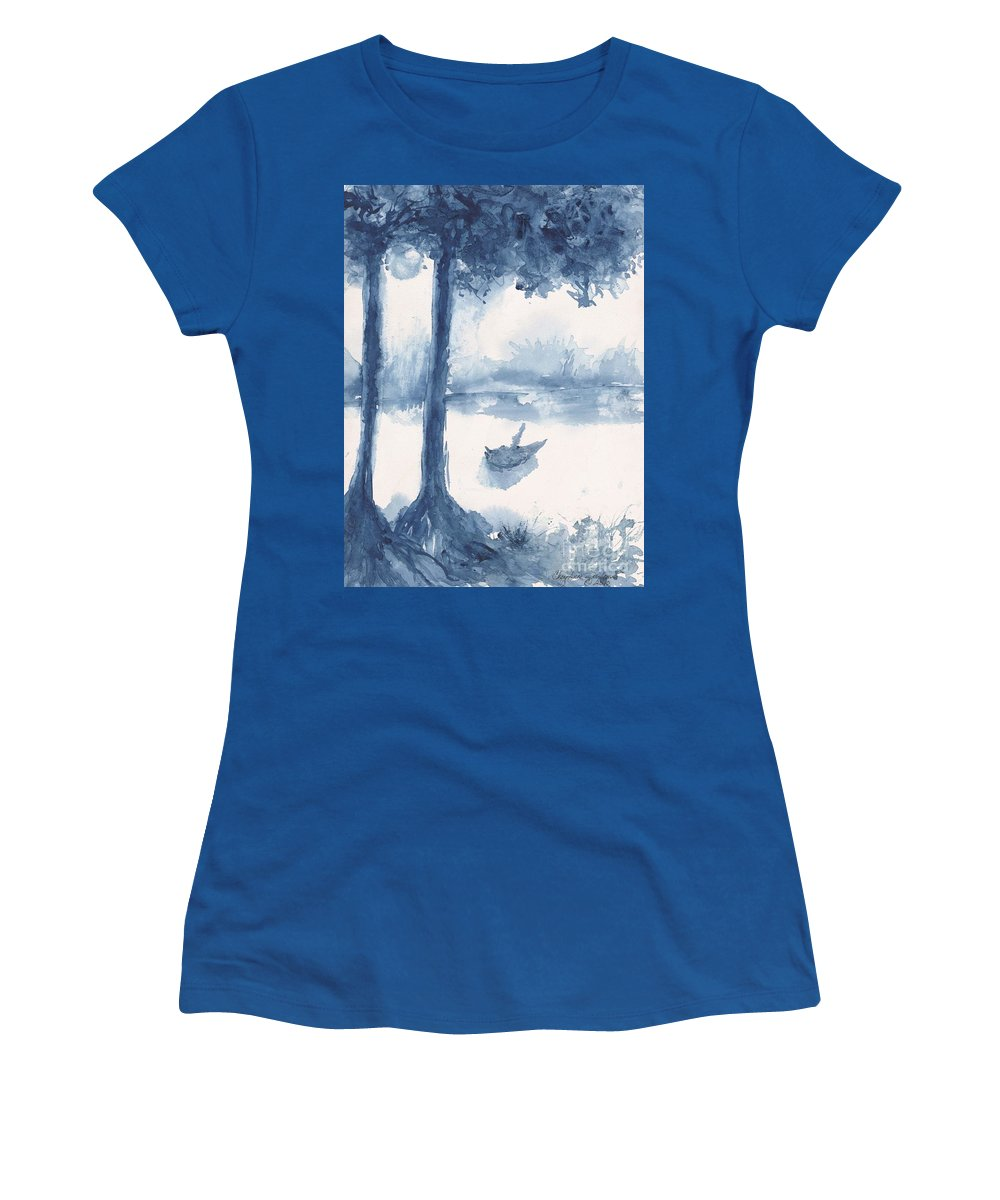 Trees Women's T-Shirt featuring the painting Antwerp Blue Landscape Watercolor by CheyAnne Sexton