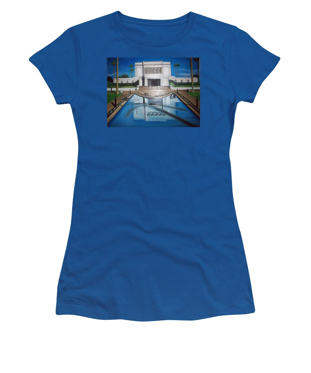 Women's T-Shirt featuring the painting Architectural Landscape by Jude Darrien