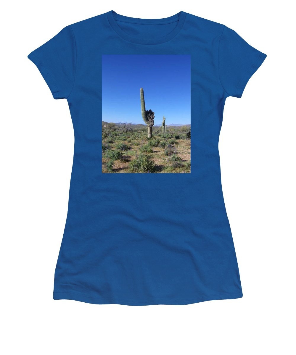 Sahuaro Women's T-Shirt (Athletic Fit) featuring the photograph Arizona Is Number One by Kathy McClure