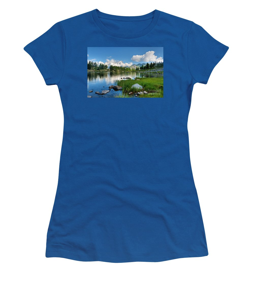 Alps Women's T-Shirt featuring the photograph Arpy Lake - Aosta Valley by Antonio Scarpi