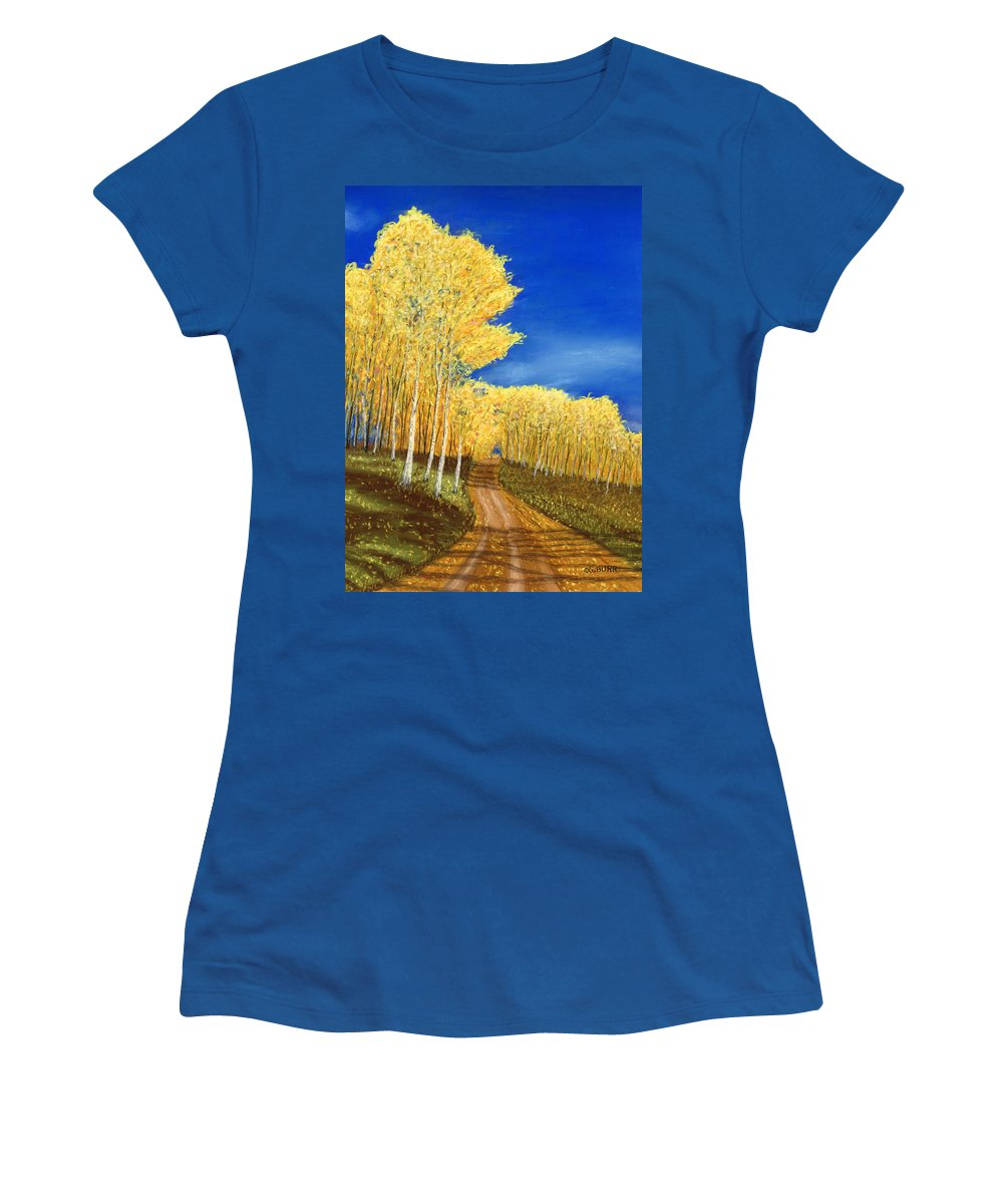 Aspen Women's T-Shirt featuring the pastel Aspen Road by George Burr