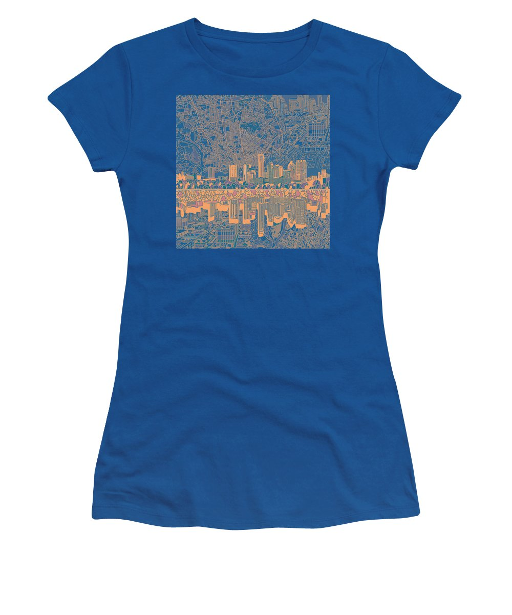 Austin Texas Women's T-Shirt featuring the painting Austin Texas Skyline 2 by Bekim Art