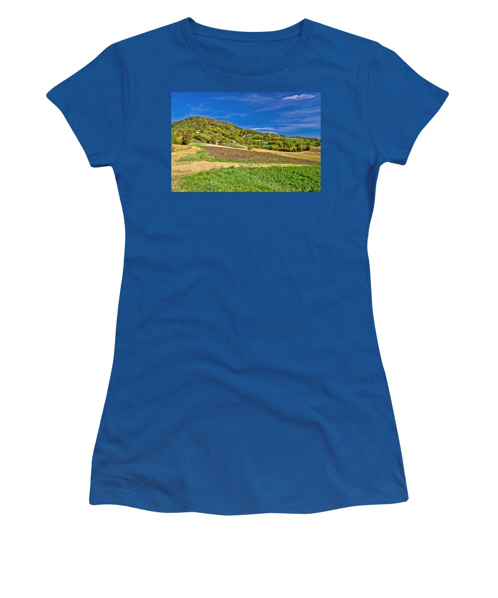 Croatia Women's T-Shirt featuring the photograph Beautiful Green Hill With Vineyard Cottages by Brch Photography
