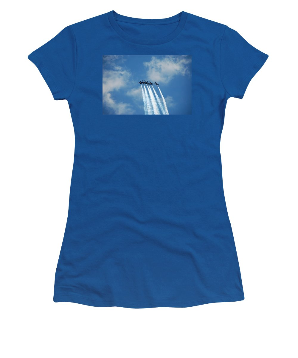 Dare Women's T-Shirt (Athletic Fit) featuring the photograph Blue Angels 3 by Aimee L Maher ALM GALLERY