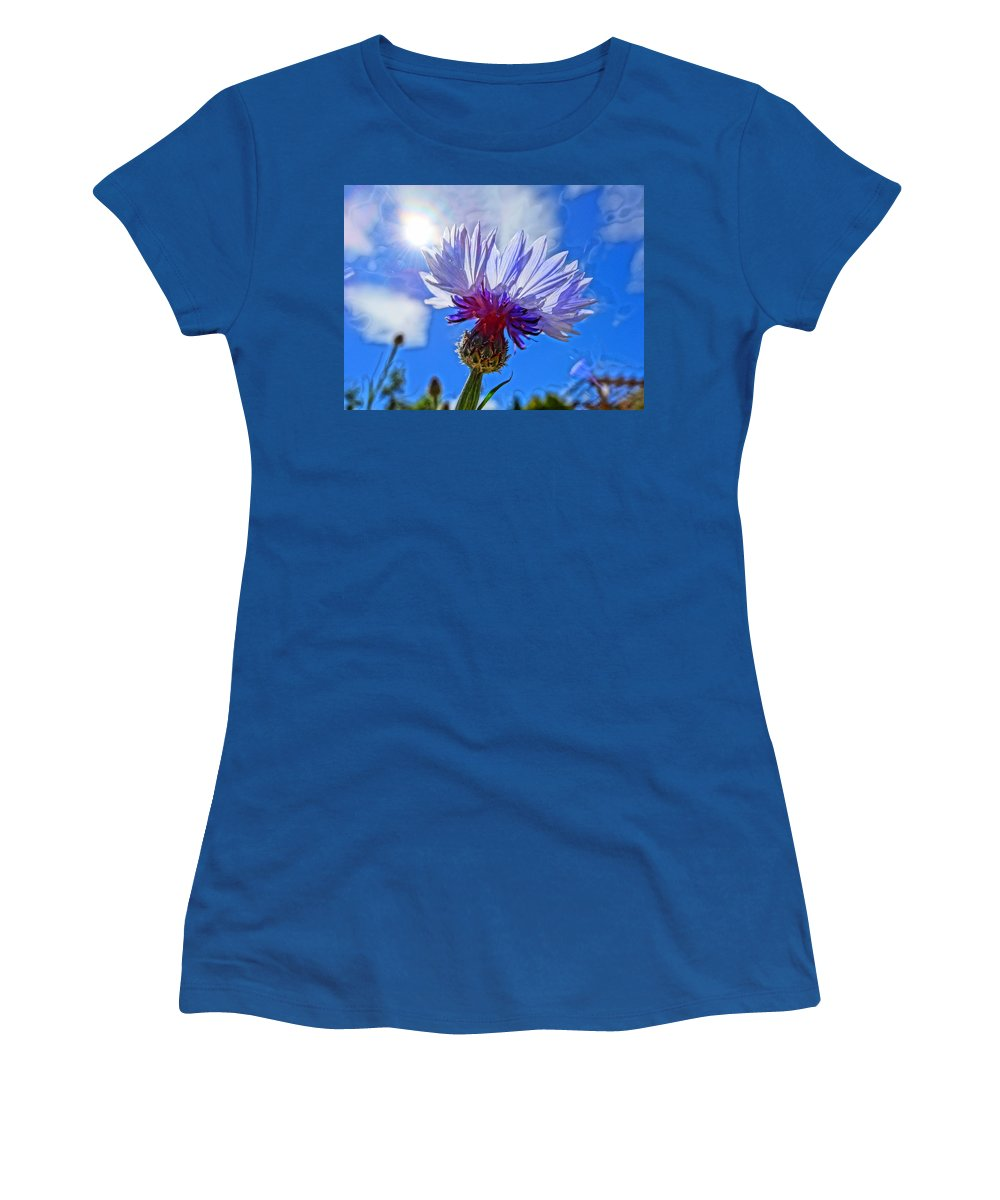 Flower Women's T-Shirt featuring the photograph Blue Cornflower With Blue Sky by M Bleichner