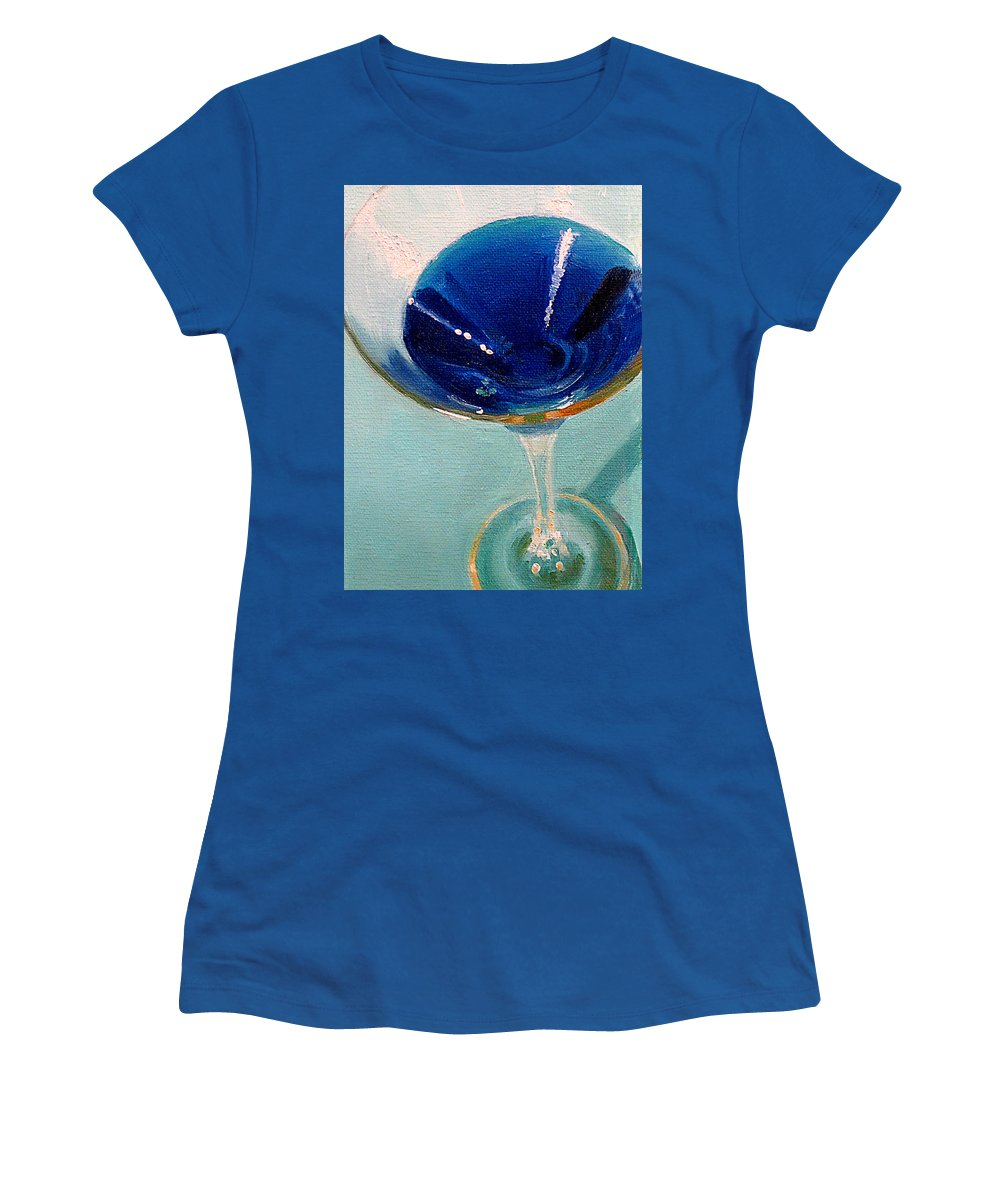Martini Women's T-Shirt (Athletic Fit) featuring the painting Blue Curacao by Sarah Parks