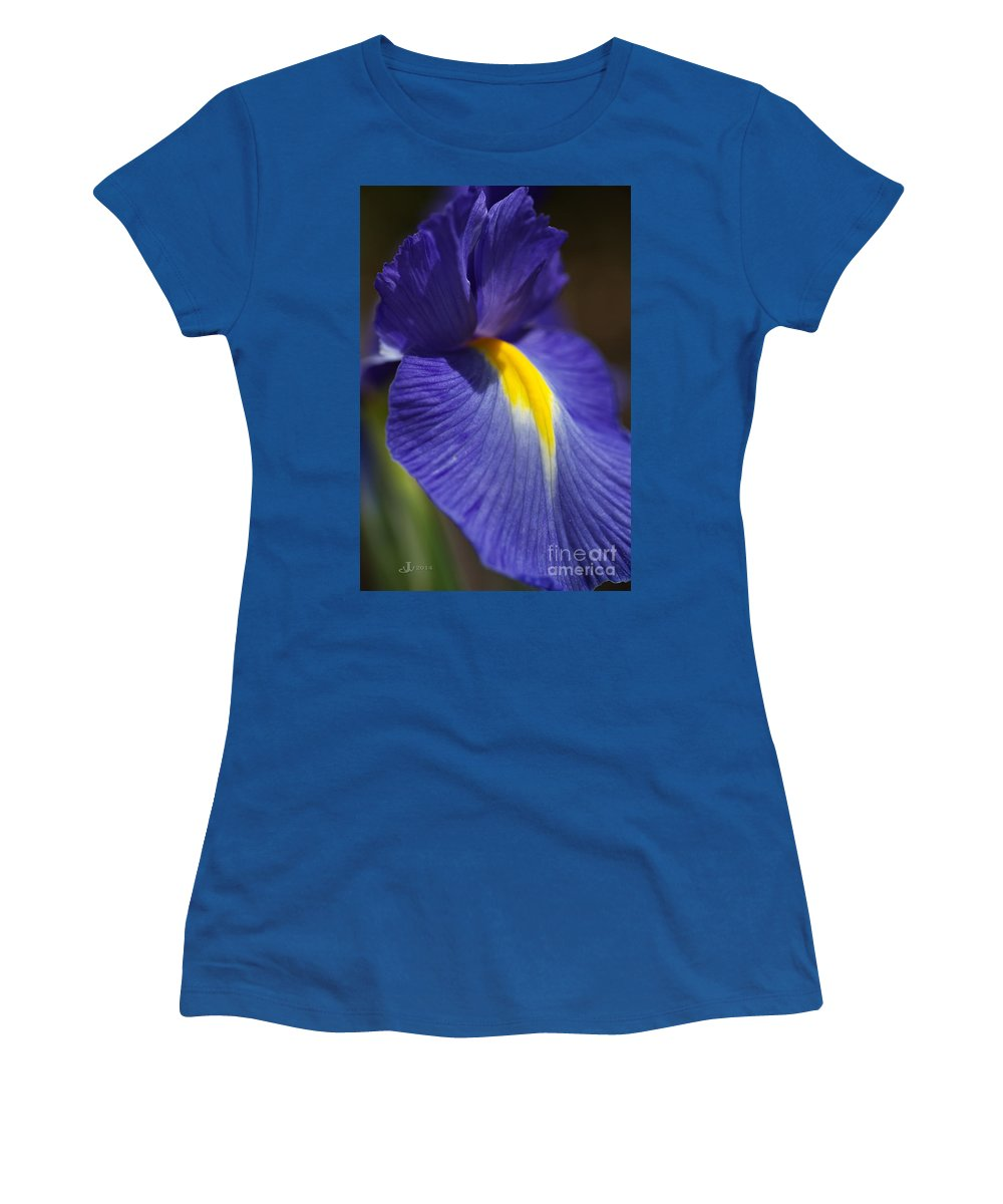 Floral Women's T-Shirt featuring the photograph Blue Iris With Yellow by Joy Watson
