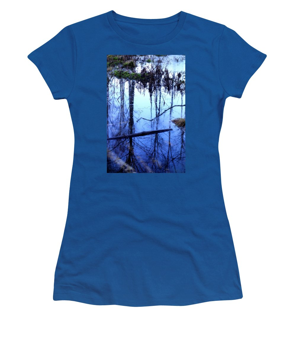 Horse Women's T-Shirt featuring the photograph Still Blue Water Is My Mirror by Hilde Widerberg
