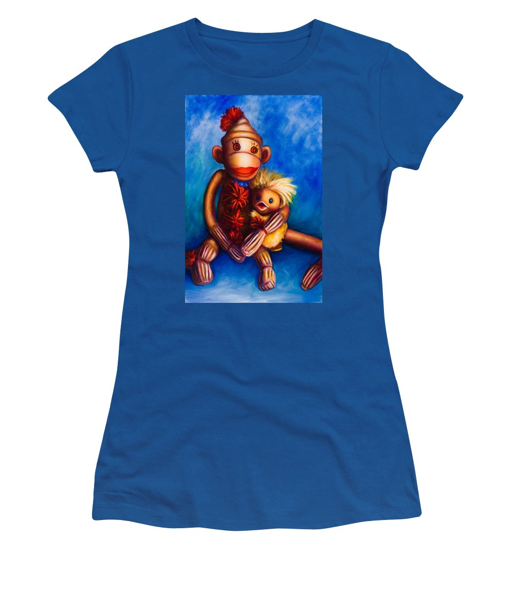 Sock Monkeys Brown Women's T-Shirt (Athletic Fit) featuring the painting Buddies by Shannon Grissom