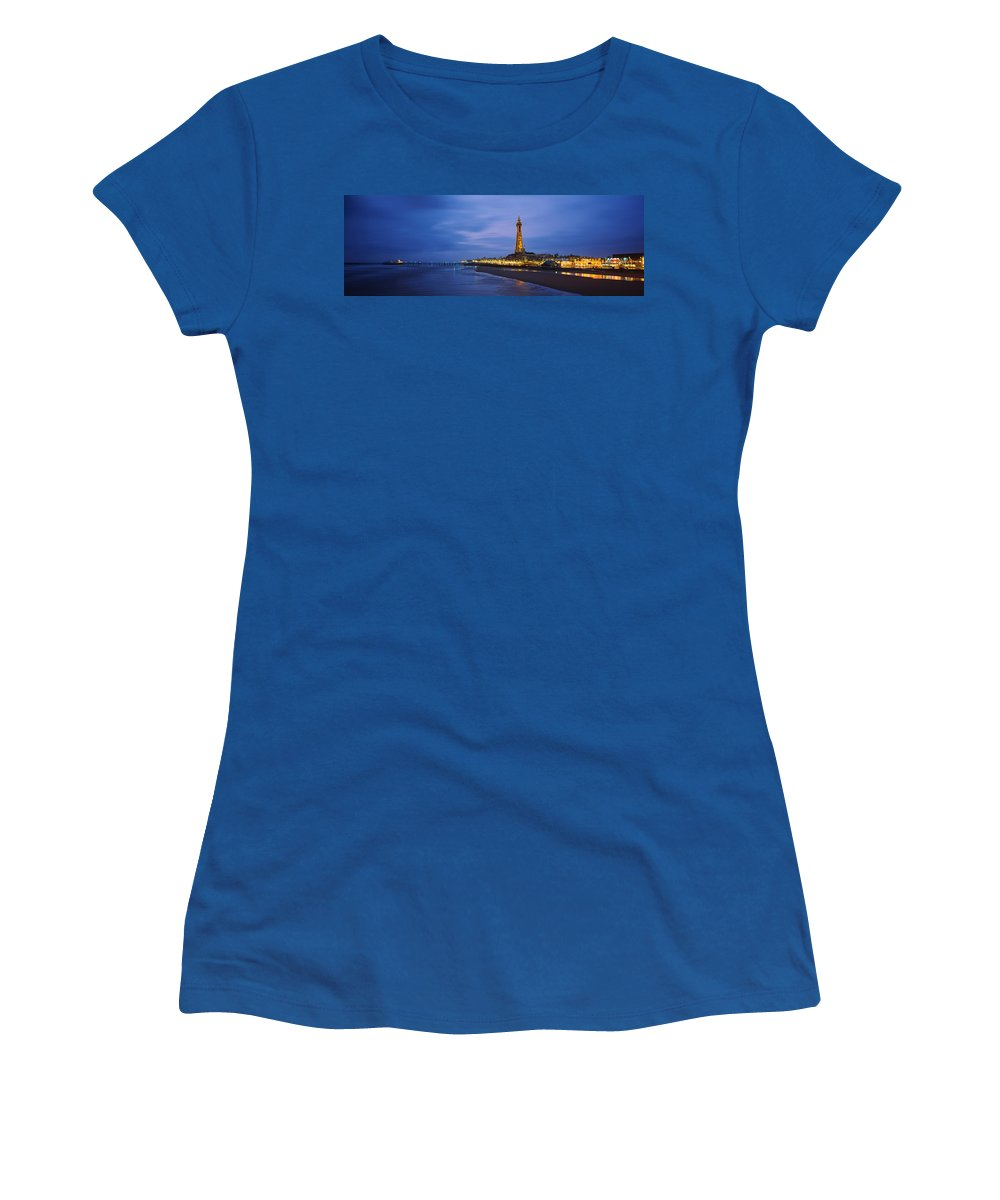Photography Women's T-Shirt featuring the photograph Buildings Lit Up At Dusk, Blackpool by Panoramic Images