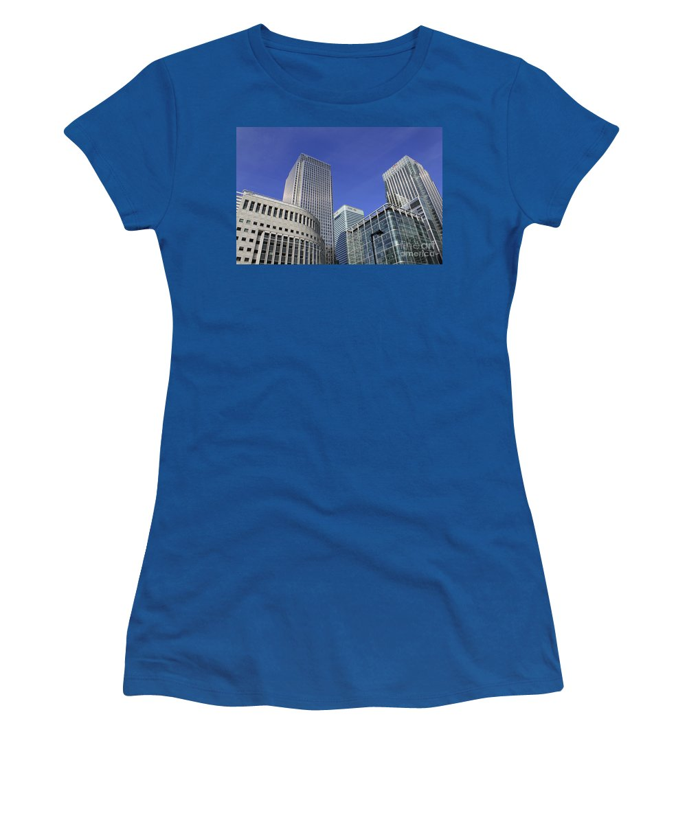 Canary Wharf London City Skyscrapers Skyscraper Tower Block Offices Modern Blue Sky Canada Uk England Women's T-Shirt featuring the photograph Canary Wharf London by Julia Gavin