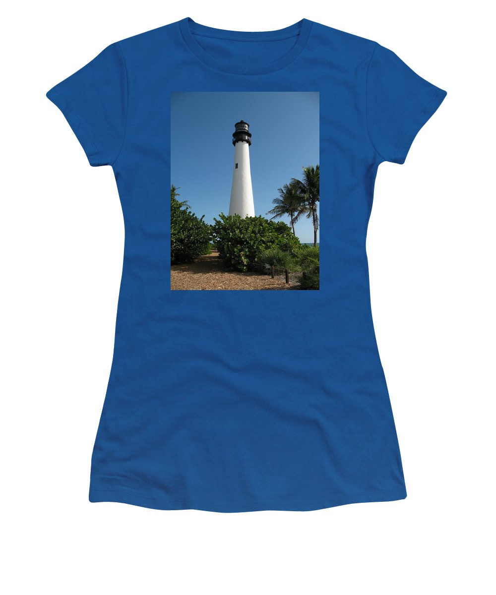 Lighthouse Women's T-Shirt (Athletic Fit) featuring the photograph Cape Florida Lightstation by Christiane Schulze Art And Photography