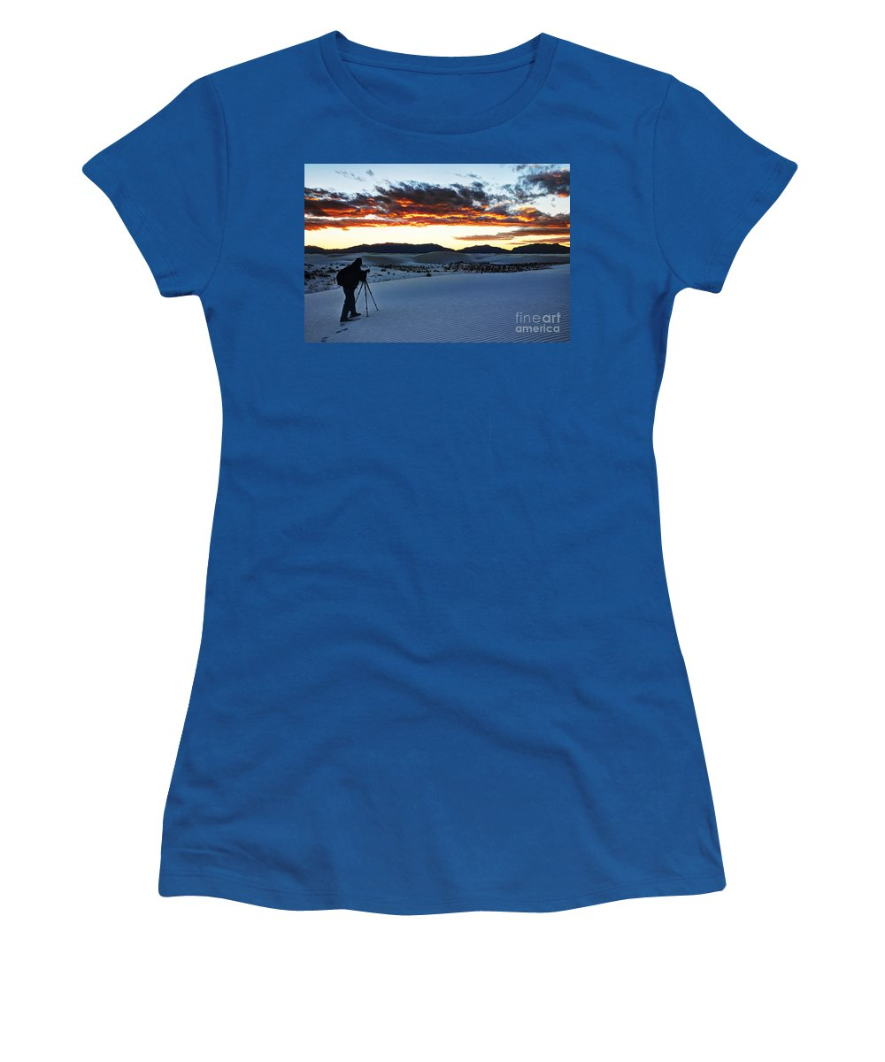 White Sands Women's T-Shirt featuring the photograph Capturing The Sunset by Vivian Christopher
