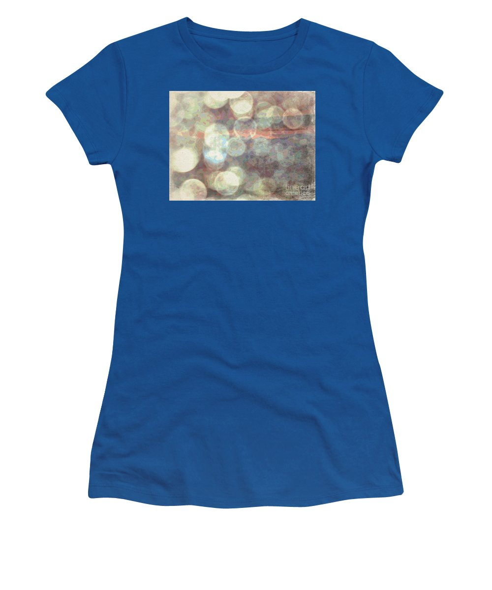 Raindrops (or Champagne Bubbles If You Prefer) Women's T-Shirt featuring the photograph Champagne Bubbles And Sunset by Phyllis Kaltenbach