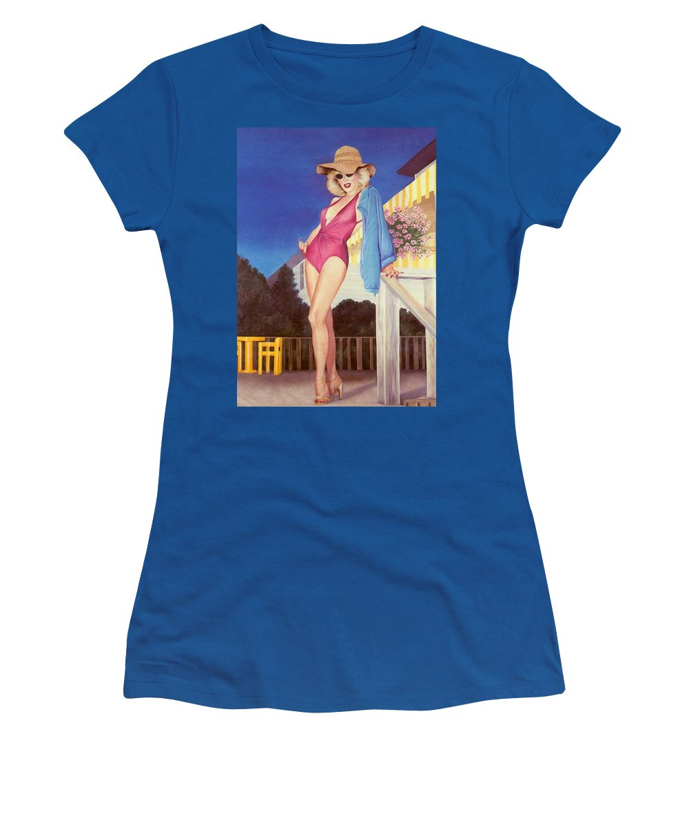 Sensual Women's T-Shirt (Athletic Fit) featuring the painting Cherry Hill New Jersey by Mary Ann Leitch