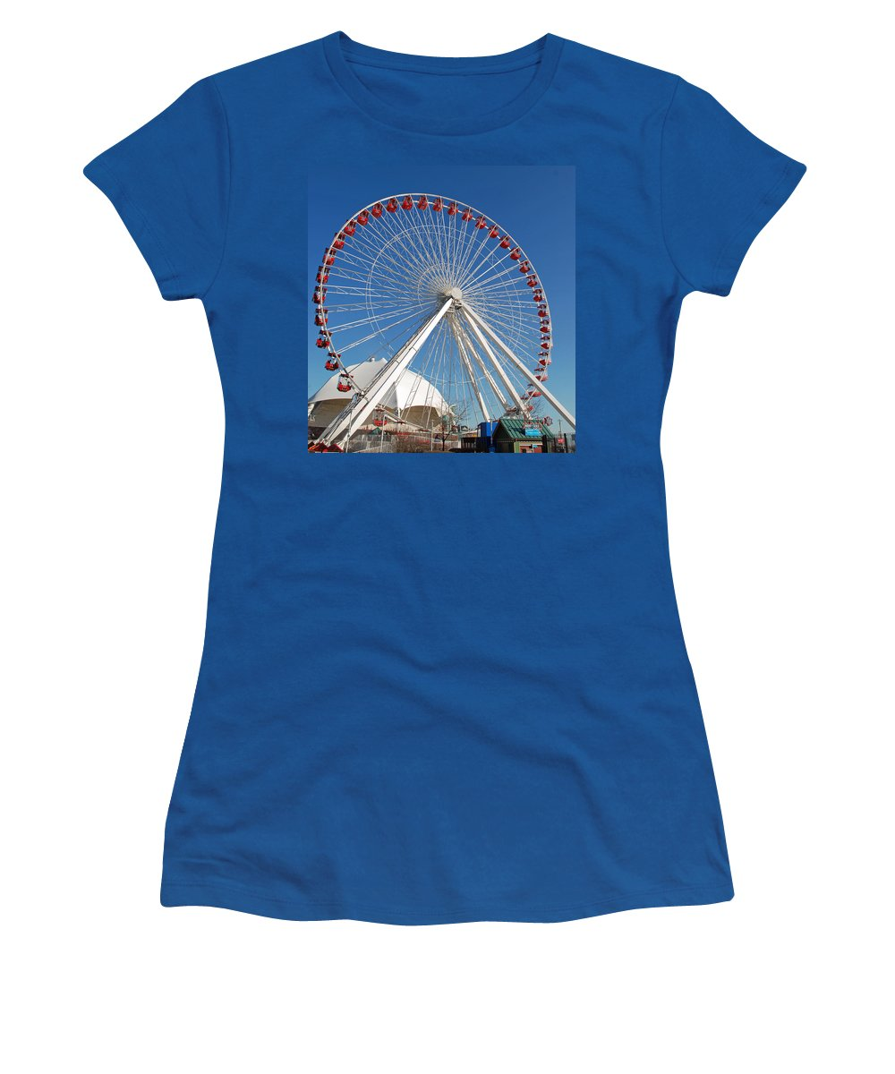 Ferris Wheel Women's T-Shirt featuring the photograph Chicago Navy Pier Ferris Wheel by Richard Bryce and Family