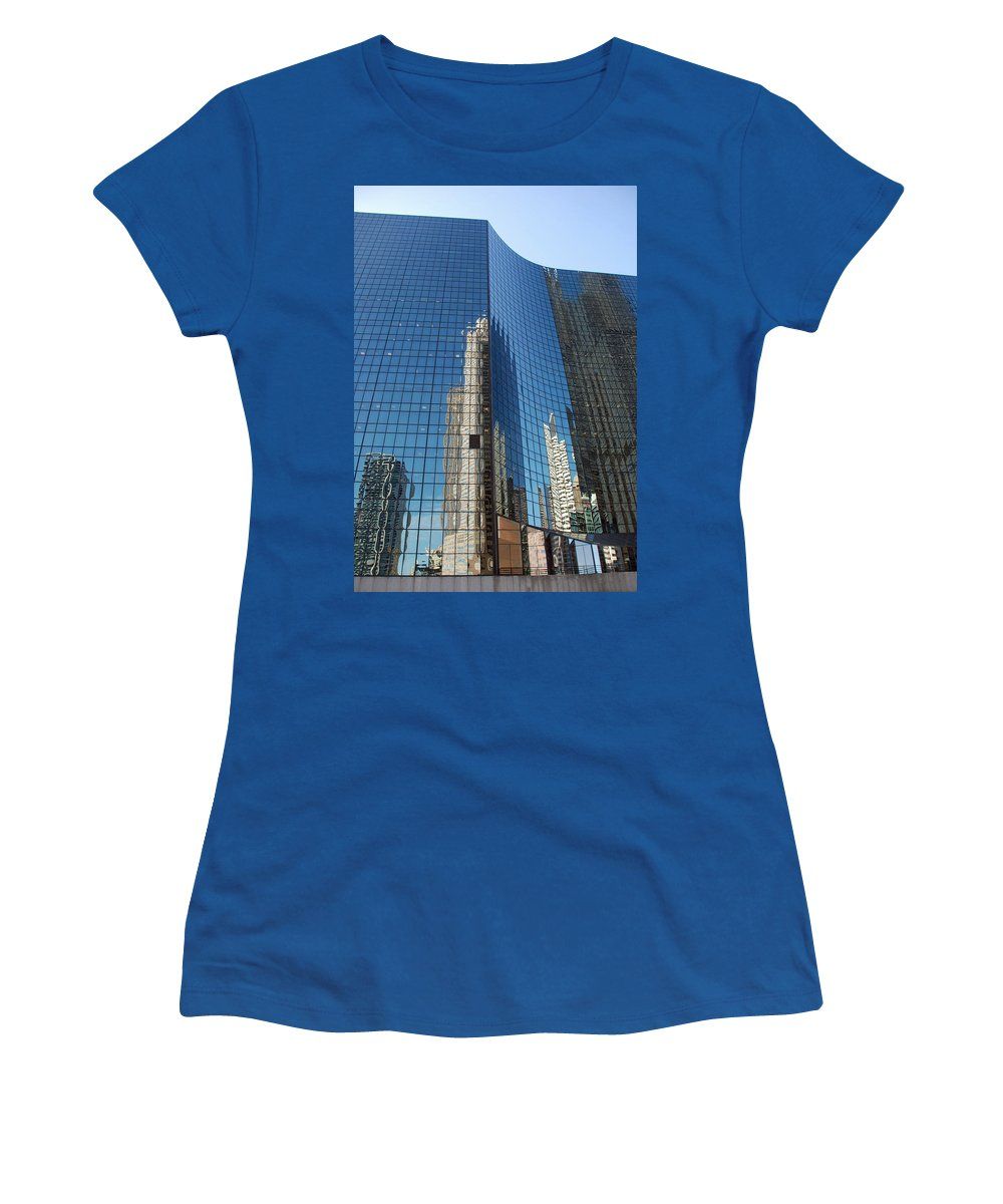Architecture Women's T-Shirt featuring the photograph Chicago Reflections by Richard Bryce and Family