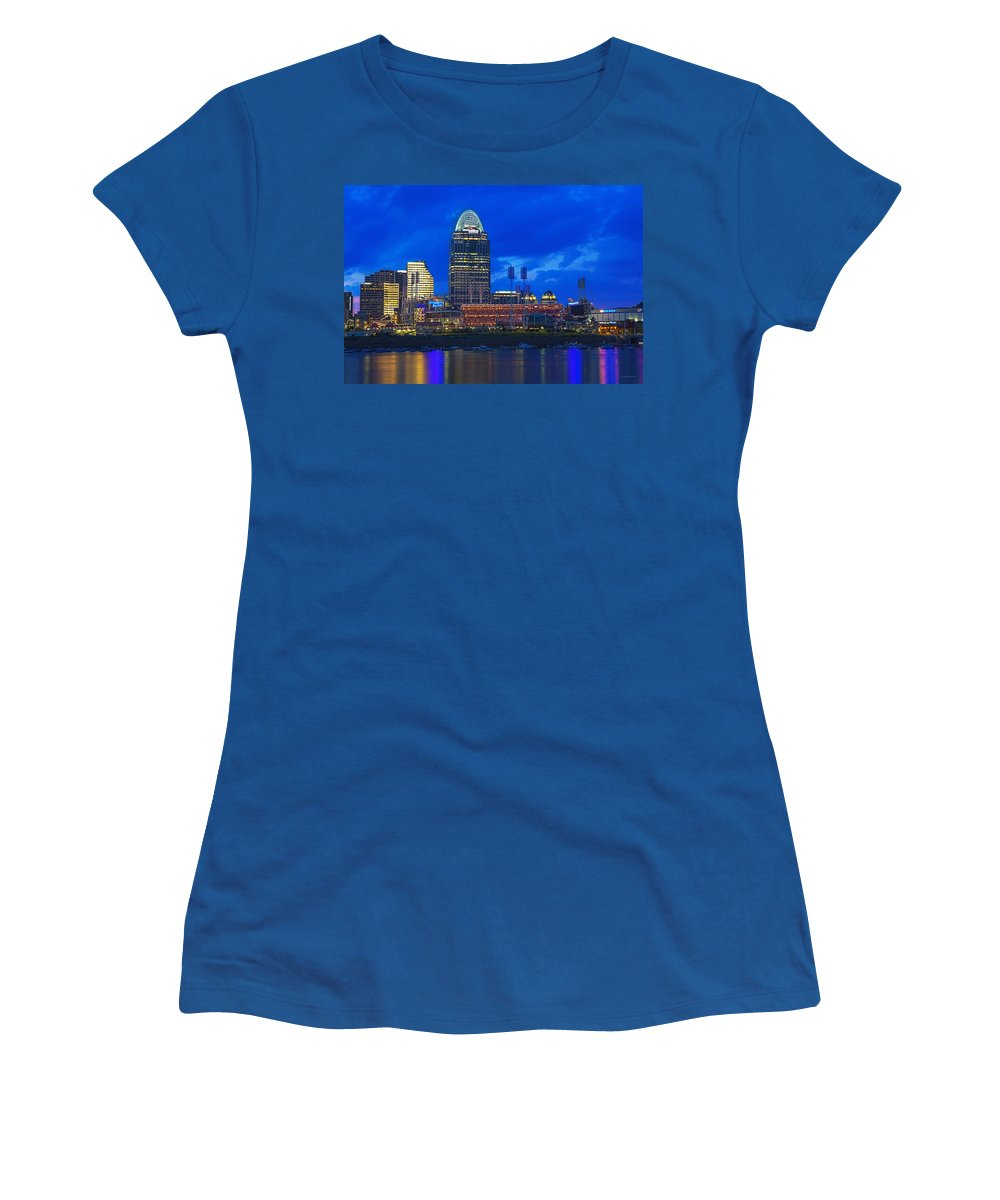 Cincinnati Women's T-Shirt featuring the photograph Cincinnati At Sunset by Edward Moorhead