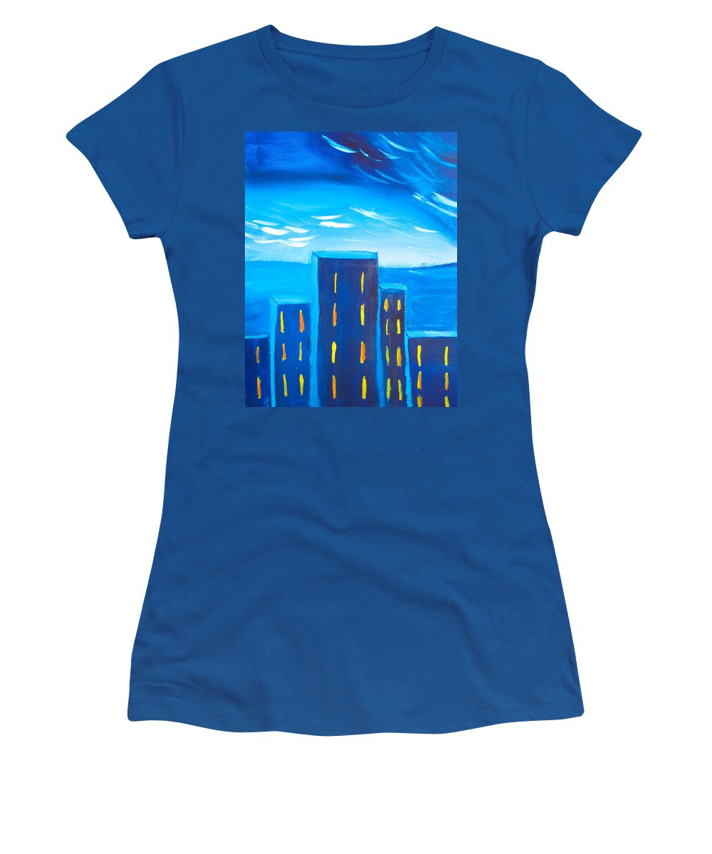 Lights Women's T-Shirt featuring the painting City by Joshua Maddison