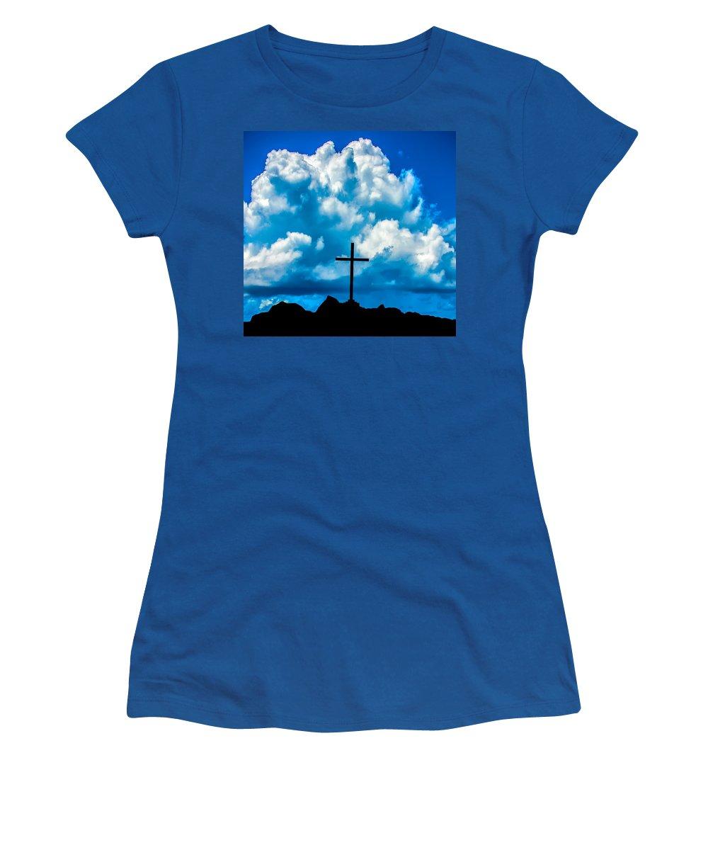 Cross Women's T-Shirt featuring the photograph Cloudy Cross by Alex Hiemstra