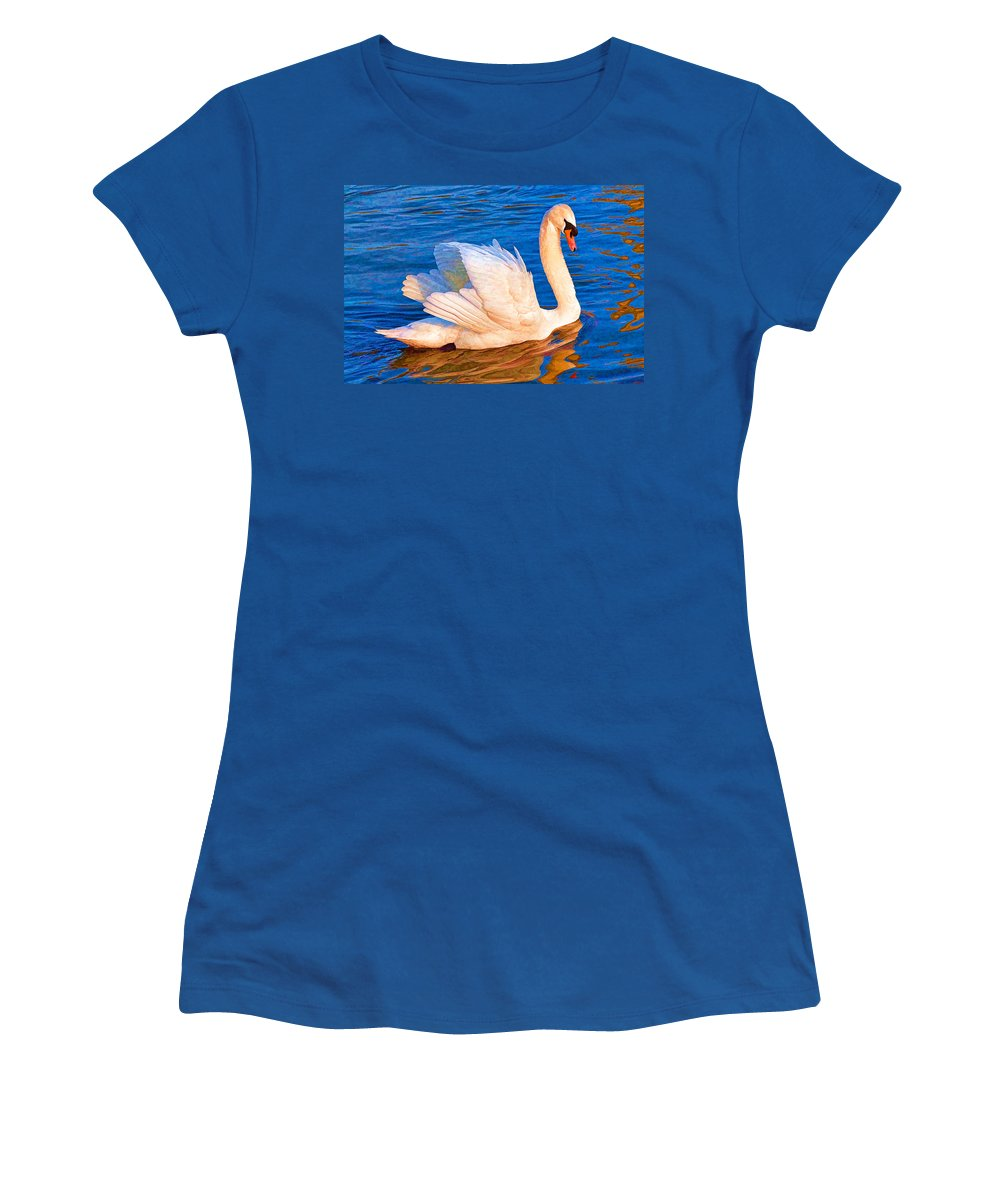 Swan Women's T-Shirt featuring the digital art Colourful Swan by Roy Pedersen