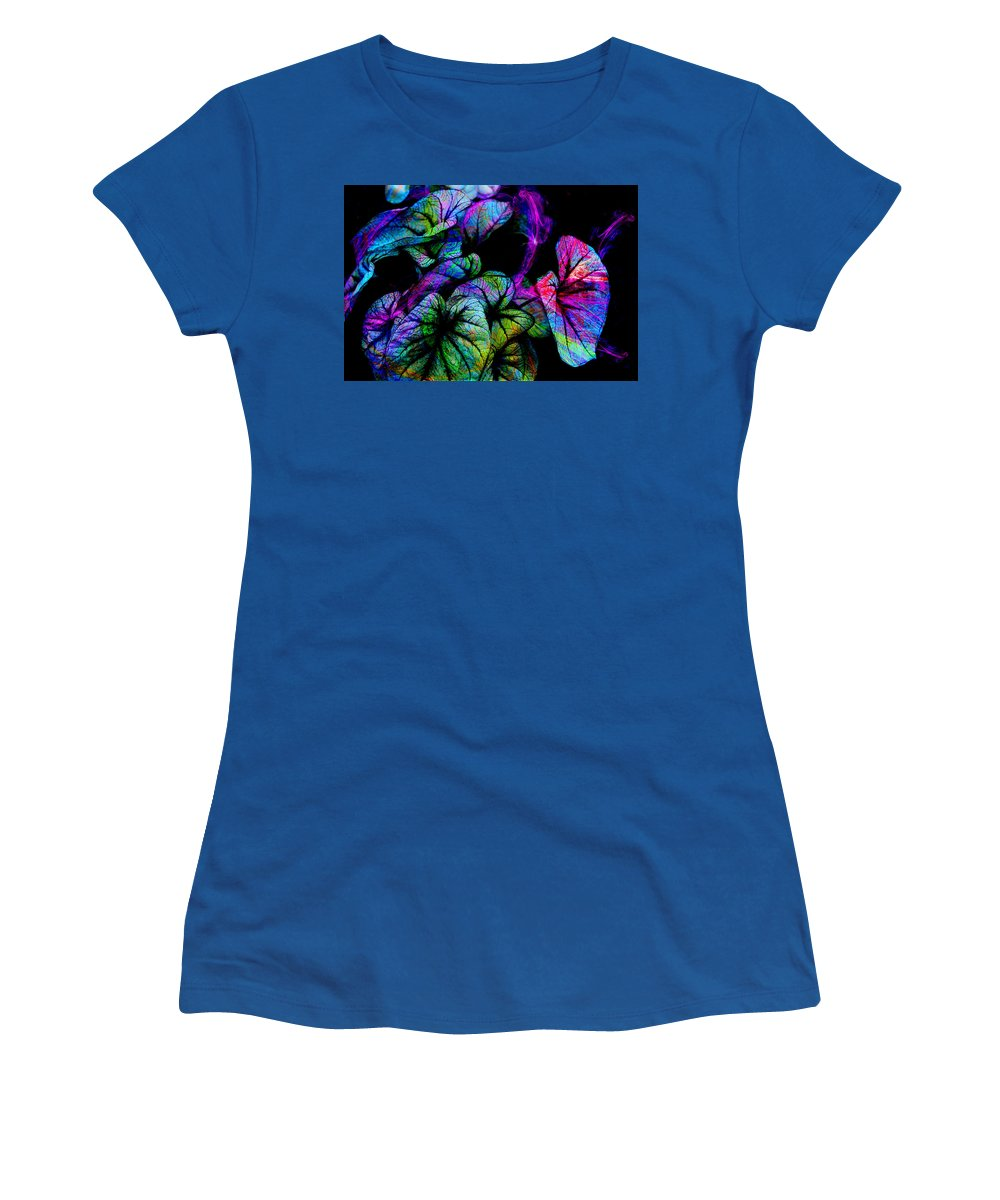 Leaves Women's T-Shirt (Athletic Fit) featuring the digital art Crazy Elephant Ears by Lisa Yount