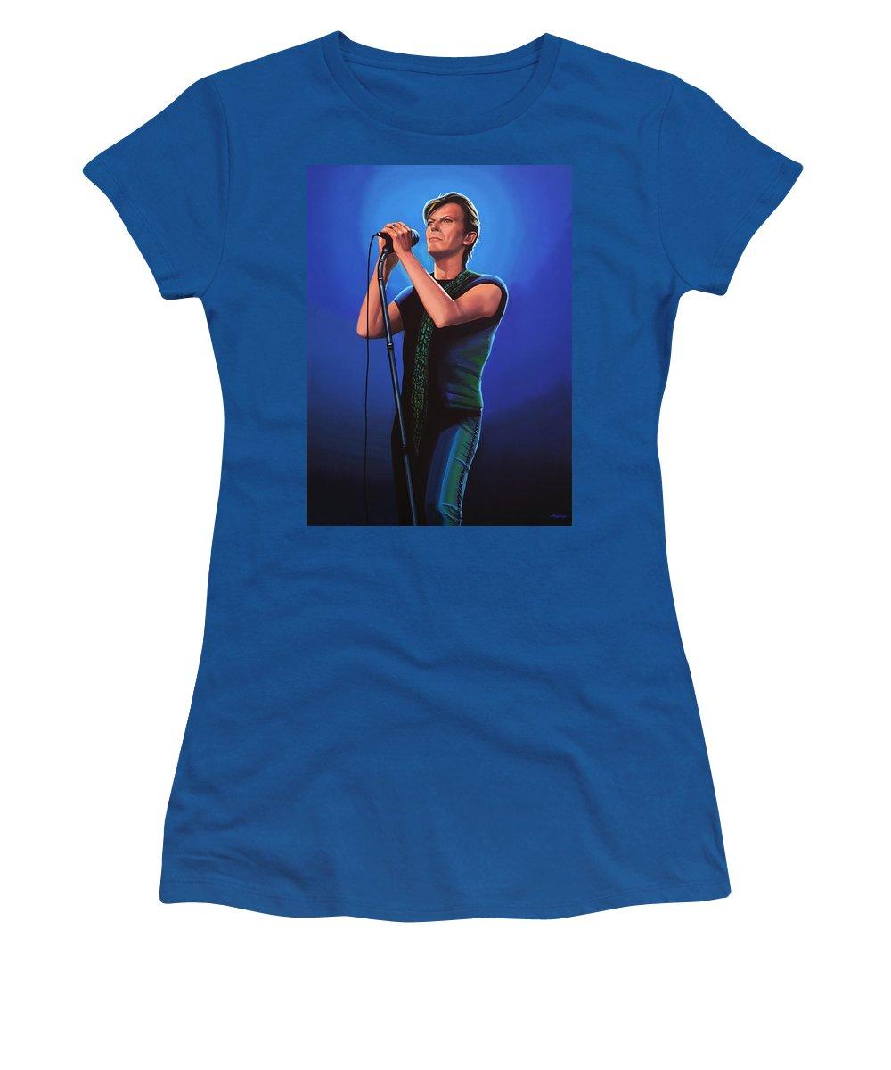 David Bowie Women's T-Shirt featuring the painting David Bowie 2 Painting by Paul Meijering